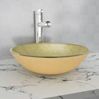 Asupermall - Basin Tempered Glass 42 cm Gold