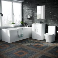 Basin Vanity Unit and Close Coupled WC Toilet with Straight Edge Bath Bathroom Suite - NESHOME