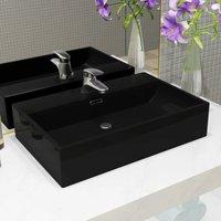 Basin with Faucet Hole Ceramic Black 60.5x42.5x14.5 cm