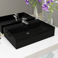 Basin with Faucet Hole Ceramic Black 60.5x42.5x14.5 cm - Black