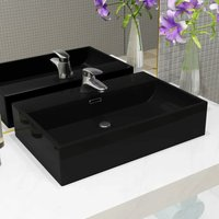 Youthup - Basin with Faucet Hole Ceramic Black 76x42.5x14.5 cm