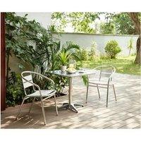 BASTIA Ensemble bistrot carree en acier et MDF + 2 fauteuils en aluminium - 70 x 70 x 70 cm
