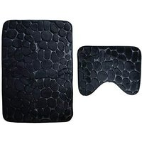 Bath mat, 2 pieces, non-slip, washable. Bath mat, bath mat and toilet mat set, 80 x 50 cm, black SOEKAVIA