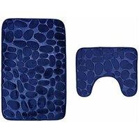 Bath mat, 2 pieces, washable non-slip. Bath mat, bath mat and toilet mat set, 80 x 50 cm, blue SOEKAVIA