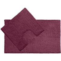 Bath mat and pedestal set, purple cotton - BIG LIVING