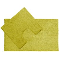 Bath Mat and Pedestal Set,Lime Green Cotton - BIG LIVING