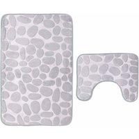 Bath mat, in 2 parts, non-slip, washable. Bath mat, bath mat and toilet mat set, 80 x 50 cm, gray SOEKAVIA