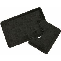 Bath and Pedestal Mat / Rug Set 2 Piece Black Shell - S.GREEN