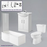 Neshome - Senore 1700mm P-Shaped Bath and Screen, Basin Vanity Unit, Close Coupled Toilet, Mono and Shower Mixer Taps and Wastes White