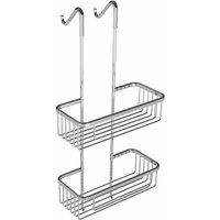 Bathroom 2 Tier Double Stainless Steel Shelf Caddy Wire Square Storage Rack Basket