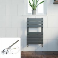 Bathroom 650x400mm Thermostatic Heated Towel Rail Radiator Anthracite Flat Panel