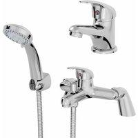Bathroom Basin Sink Monobloc Mixer Tap Bath Shower Mixer Tap Chrome Single Lever - ARCHITECKT