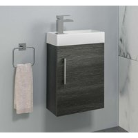 Bathroom Basin Sink Vanity Unit Wall Hung 400mm Modern Charcoal Grey - AURORA