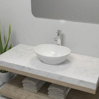 Bathroom Basin with Mixer Tap Ceramic Oval White - YOUTHUP