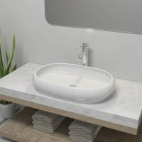 Bathroom Basin with Mixer Tap Ceramic Oval White - White - ZQYRLAR