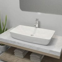 Bathroom Basin with Mixer Tap Ceramic Rectangular White - YOUTHUP