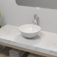 Bathroom Basin with Mixer Tap Ceramic Round White - YOUTHUP