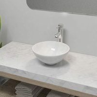 Bathroom Basin with Mixer Tap Ceramic Round White - White - ZQYRLAR