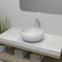 Bathroom Basin with Mixer Tap Ceramic Round White