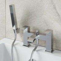 Bathroom Bath Shower Mixer Filler Tap Brass Curved Spout Handset Hose Chrome - ARCHITECKT