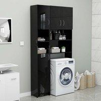 Bathroom Cabinet High Gloss Black 32x25.5x190 cm Chipboard - YOUTHUP