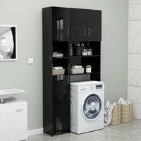 Zqyrlar - Bathroom Cabinet High Gloss Black 32x25.5x190 cm Chipboard - Black