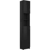 vidaXL Bathroom Cabinet High Gloss Black 32x25.5x190 cm Chipboard
