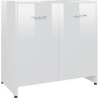 Bathroom Cabinet High Gloss White 60x33x58 cm Chipboard - White - Vidaxl