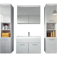 Bathroom furniture set Paso xl 80cm basin white high gloss fronts - Storage cabinet vanity unit sink furniture - BADPLAATS