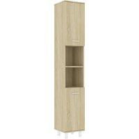 Bathroom Cabinet Sonoma Oak 30x30x179 cm Chipboard - Brown - Vidaxl