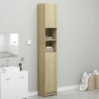Zqyrlar - Bathroom Cabinet Sonoma Oak 32x25.5x190 cm Chipboard - Brown