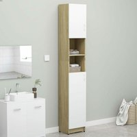 Bathroom Cabinet White and Sonoma Oak 32x25.5x190 cm Chipboard - VIDAXL