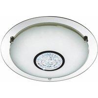 Searchlight - Bathroom ceiling light ip44 led 42cm chrome mirror halo
