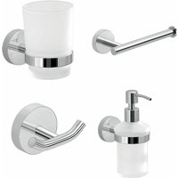 Bathroom Chrome 4 Piece Accessory Set Frosted Glass Wall Mounted Soap Dispenser - ARCHITECKT