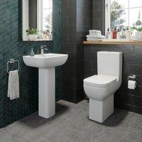 Affine - Bathroom Cloakroom Suite Comfort Height Toilet WC and Basin Sink Full Pedestal Set