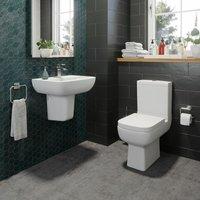 Bathroom Cloakroom Suite Toilet Close Coupled Basin Semi Pedestal