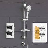 Bathroom Concealed Thermostatic Shower Mixer and Slider Rail 3 Mode Handset Shower - NESHOME
