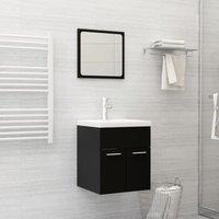 Betterlifegb - Bathroom Furniture Set Black Chipboard22142-Serial number