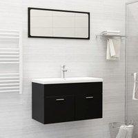 Betterlifegb - Bathroom Furniture Set Black Chipboard22156-Serial number