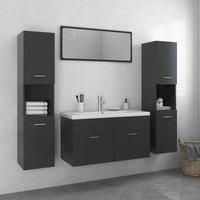 Betterlifegb - Bathroom Furniture Set Grey Chipboard22087-Serial number