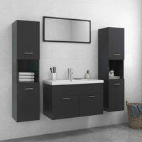 Betterlifegb - Bathroom Furniture Set Grey Chipboard22304-Serial number
