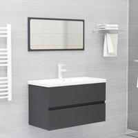 Betterlifegb - Bathroom Furniture Set Grey Chipboard22386-Serial number