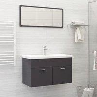 Betterlifegb - Bathroom Furniture Set High Gloss Grey Chipboard21764-Serial number