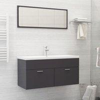 Betterlifegb - Bathroom Furniture Set High Gloss Grey Chipboard22178-Serial number