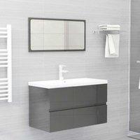 Betterlifegb - Bathroom Furniture Set High Gloss Grey Chipboard22391-Serial number