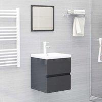Betterlifegb - Bathroom Furniture Set High Gloss Grey Chipboard22457-Serial number