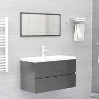 Betterlifegb - Bathroom Furniture Set High Gloss Grey Chipboard22473-Serial number