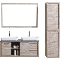 Bathroom furniture set Vermont 120 cm basin nature wood - Storage cabinet vanity unit sink furniture mirror - BADPLAATS