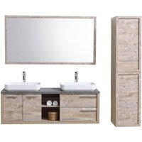 Bathroom furniture set Vermont 150 cm basin nature wood - Storage cabinet vanity unit sink furniture mirror - BADPLAATS