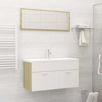 Betterlifegb - Bathroom Furniture Set White and Sonoma Oak Chipboard21770-Serial number